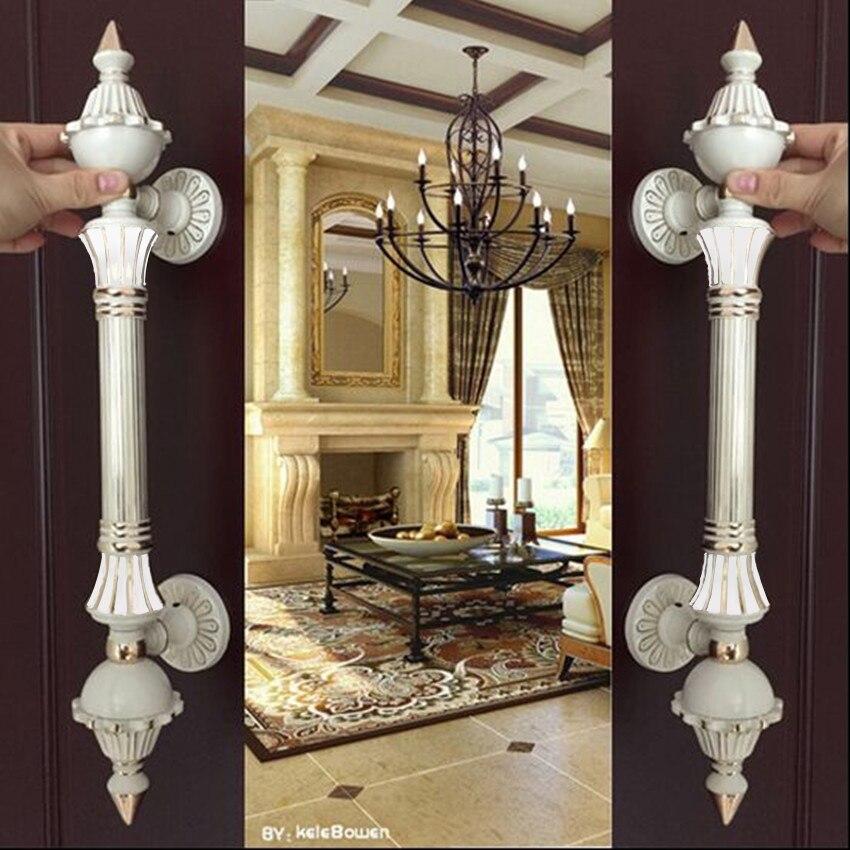 Europe vinatge ivoire blanc grande porte poignée de porte en or blanc verre en bois porte poignée de traction de haute qualité hôtel Ktv porte de bureau 550mm