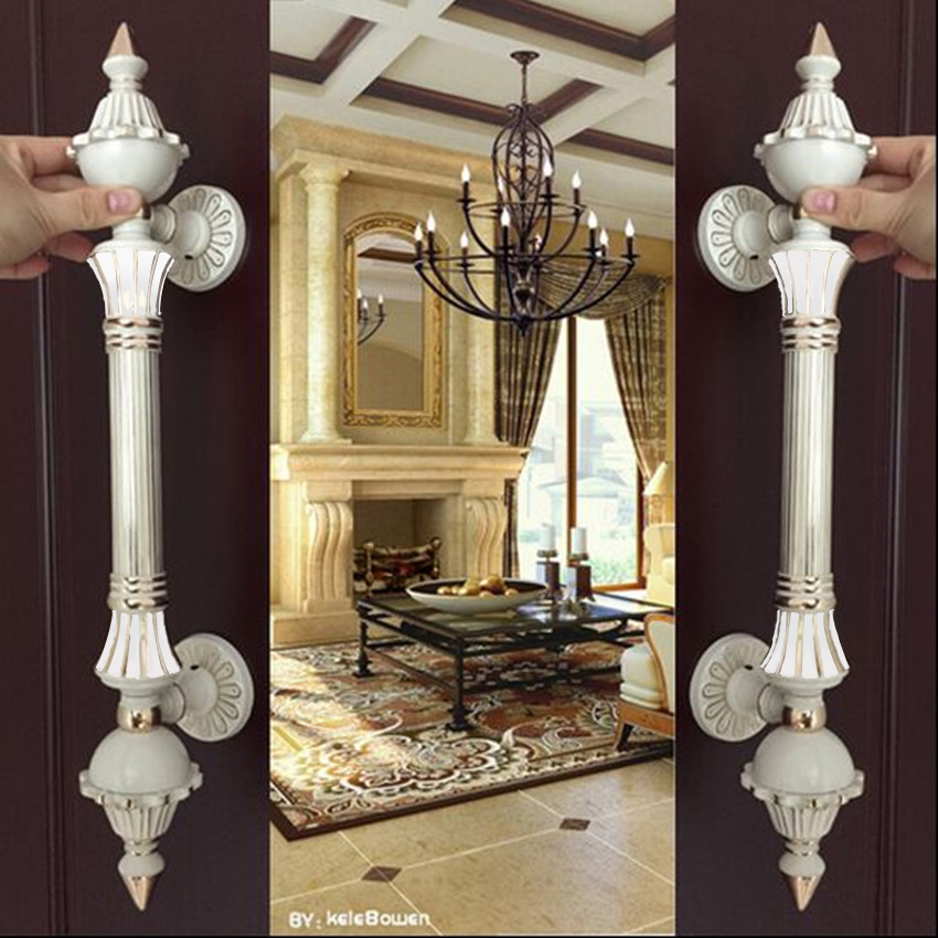 Europe vinatge ivory white big gate door handle white gold glass wooden door pull handle Top quality Hotel Ktv Office door 550mm 550mm high quality clear crystal glass big gate door handles stainless steel big gate door handle pulls wooden door pulls