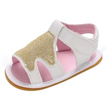 2018 Summer First Walkers Baby Girls Shoes PU Leather Sequins Star Print Footwear Kids Princess Rubber Sole Crib Shoe