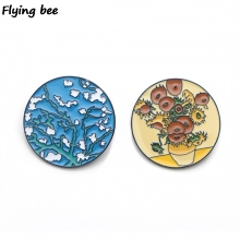 Flyingbee Van gogh sunflower Enamel Pin Cartoon Brooch Clothes Pins Badges for Denim Blouse Tie Pins Jewelry Accessories X0140