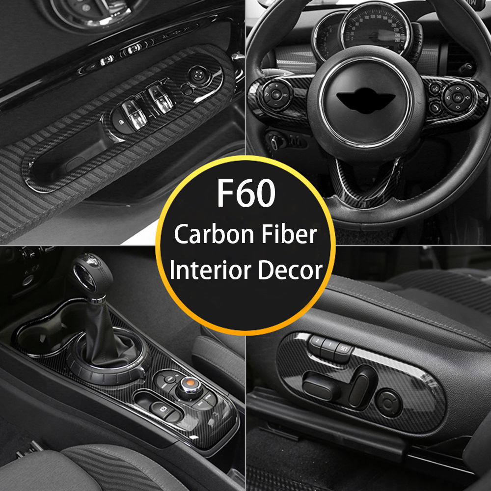 Interior Decor Carbon Fiber Steering Wheel Sticker Cover Horn Panel Center Console Lifter Housing For MINI CooperF60 Accessories