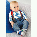 bebek giyim cool straps T-shirt+baby overalls denim fashion baby boys clothes set spring Autumn clothing for babies