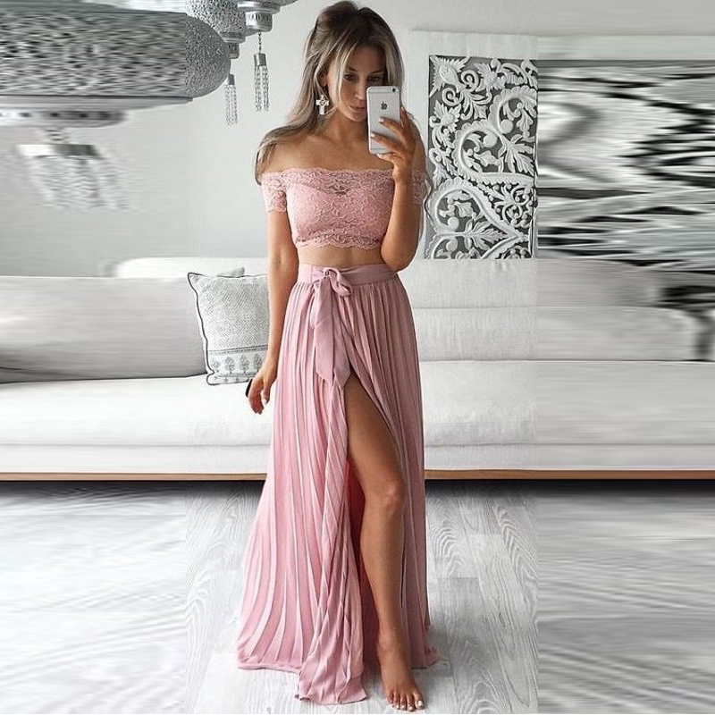Summer Style Sexy High Slit Skirts Women A Line Floor Length Maxi Skirt Personalized Pleated Chiffon