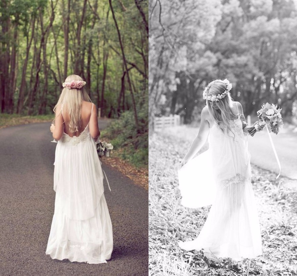 Backless boho wedding dresses images for Bohemian white wedding dress