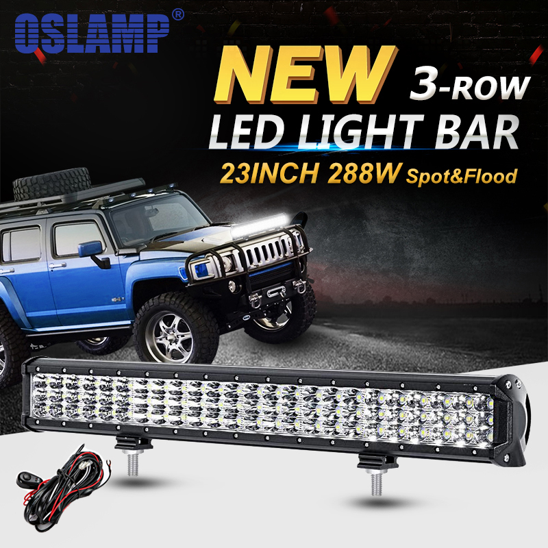 Oslamp 288W 6D 3-Row 23inch LED Light Bar Offroad Combo Beam Led Work Light Bar for Trucks SUV ATV 4WD 4x4 Led Bar Light 12v 24v popular led light bar spot flood combo beam offroad light 12v 24v work lamp for atv suv 4wd 4x4 boating hunting