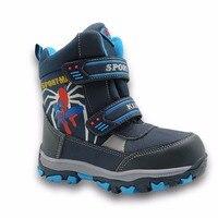 Apakowa meados de bezerro bungee lacing crianças botas de neve à prova dwaterproof água meninos botas grandes sapatos esportivos wollen forro crianças botas para meninos