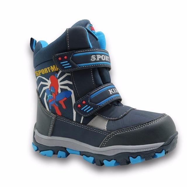 Apakowa winter kids snow boots mid calf bungee lacing waterproof boys boots big boys sport shoes wollen lining kids winter boots