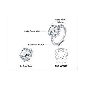 Image 5 - JewelryPalace 3ct CZ Halo אירוסין טבעת 925 טבעות כסף סטרלינג לנשים יום נישואים טבעת חתונת טבעות כסף 925 תכשיטים