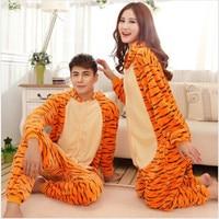 Wholesale Winter Animal Onesies Cartoon Unisex Adult Tiger Pajamas Sets Flannel Sleepwear Suit Winnie Onesie