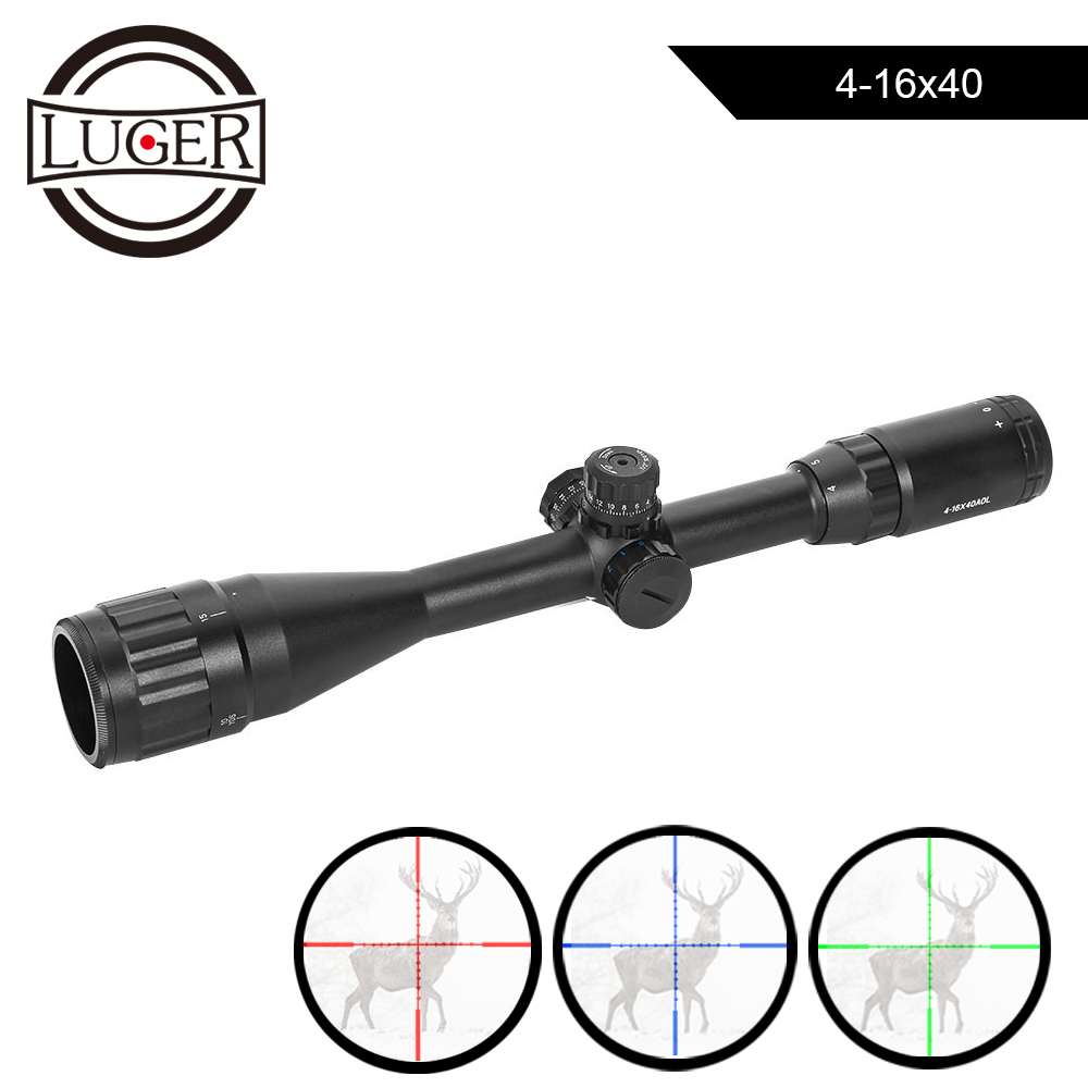 LUGER 4-16X40 Riflescope Tactical Red Green Illumination Telescopic Sights Hunting Scope Air Gun Reticle Optical Rifle Scope