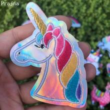 Prajna Colorful Unicorn Patches Rainbow Stripe On Clothes Embroidered Iron DIY For Kids T-shirts Clothing