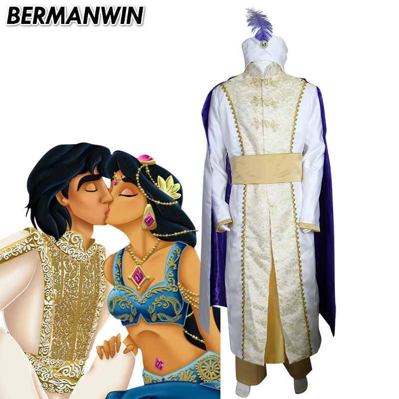BERMANWIN High Quality Anime Aladdin and the magic lamp Cosplay Costume Adult Halloween Costume for men Aladdin Costume