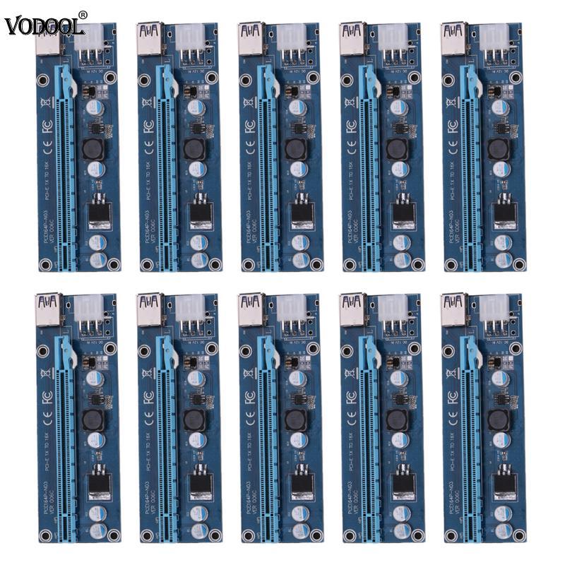 10шт/много супер скорость USB 3.0 с интерфейсом PCI-E Экспресс 1х 4х 8х 16х райзере расширитель с SATA-кабель с 6pin мощный для БТД Шахтер