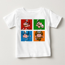 Hot sale print cartoon Mario brothers summer T-shirts 2018 boys and girls cute short sleeves fashionable baby clothes