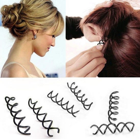 12 pcsset Spiral Spin Screw Pin Hair Clip Hairpin Twist Barrette Black hair accessories Plate Made Tools Bridal jewelry