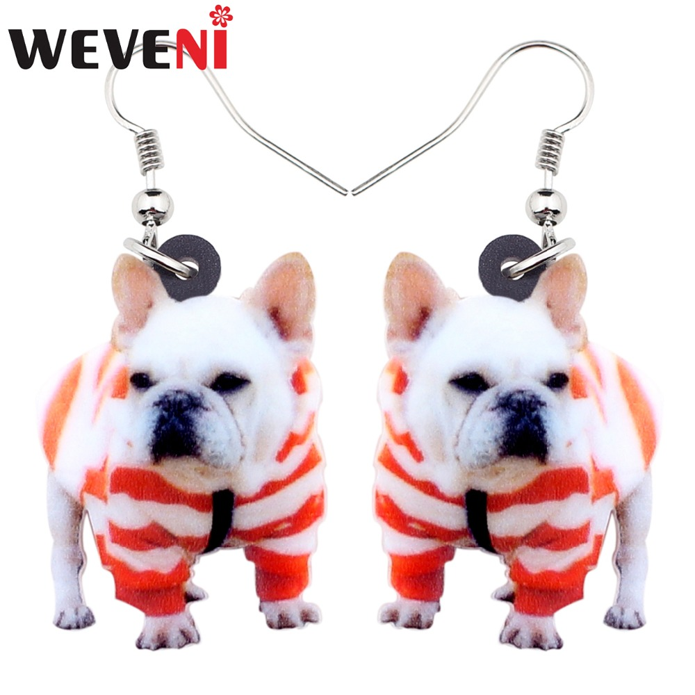 WEVENI Acrylic Sweet French Bulldog Terrier Dog Earrings Big Long Dangle Drop Animal Jewelry For Women Girl Ladies Kid Gift Bulk