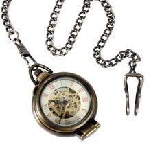 Steampunk Trendy Fob Mechanical Pocket Watch Hand Winding Bronze Vintage Standing Case Skeleton Pendant Men Women Xmas Gift Hour