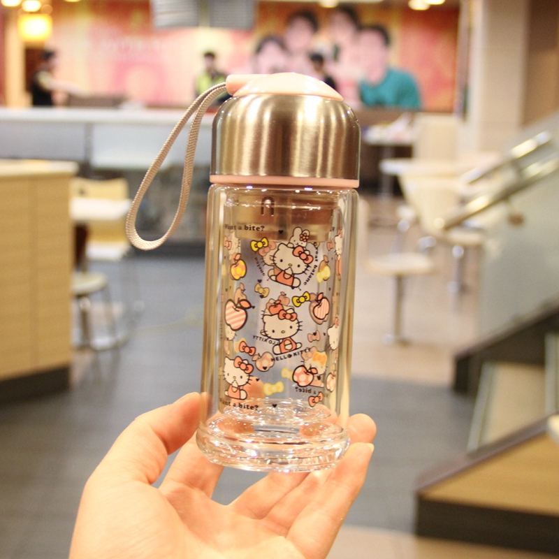 New Water Bottle Shaker Protein Cartoon Double Glass Portable Fresh With Tea Infuser Adults Applicable Direct Drinking