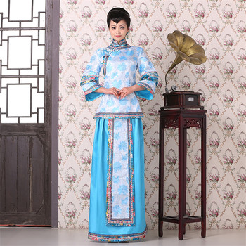Women Traditional Chinese Style Married bridesmaid Clothing Dress Costume  Qing Dynasty Gege Cosplay  Dress One Sets Top+Dress