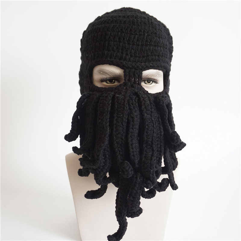 19f1f585c8f00 Mens Womens Funny Sea Creature Hat Crochet Cthulhu Squid Octopus Beanie  Hats Ski Mask Knit Bread