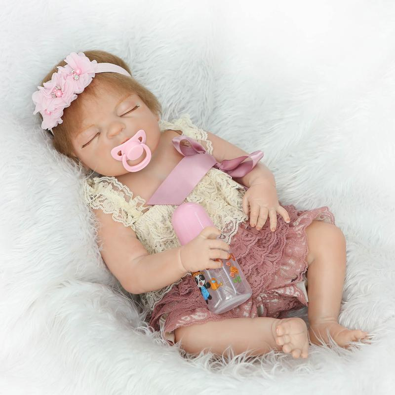 "22/"" Reborn Baby Dolls Girl Full Body Silicone Reborn Toddler Dolls Realistic Toy"