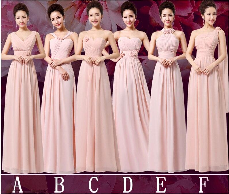 ⊹6 estilo hombro niñas rosa pálido gasa vestido bridemaid ...