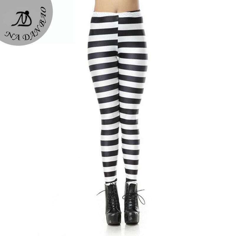 Black And White Striped Leggings Horizontal