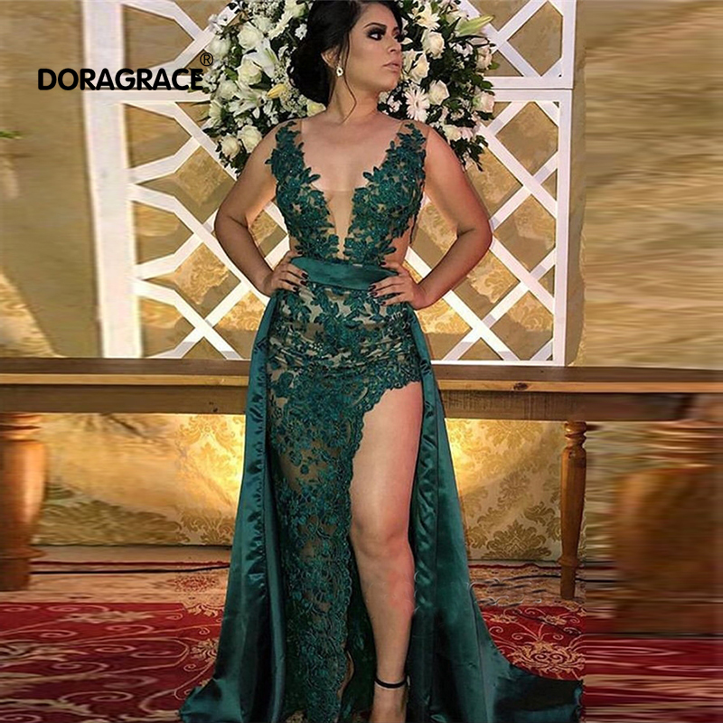 Doragrace New Fashion Dark Green Lace Prom   Dresses   High Side Split Party Gowns Overskirt Sexy   Evening     Dresses