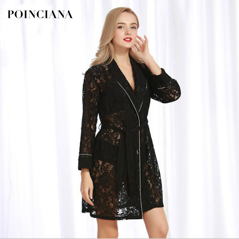 Lace Robes Kimono Intimate Wedding-Lingerie Black Sleepwear Floral-Border Sexy Long Temptation