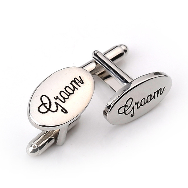 Elegant Oval Wedding Groom Cufflinks