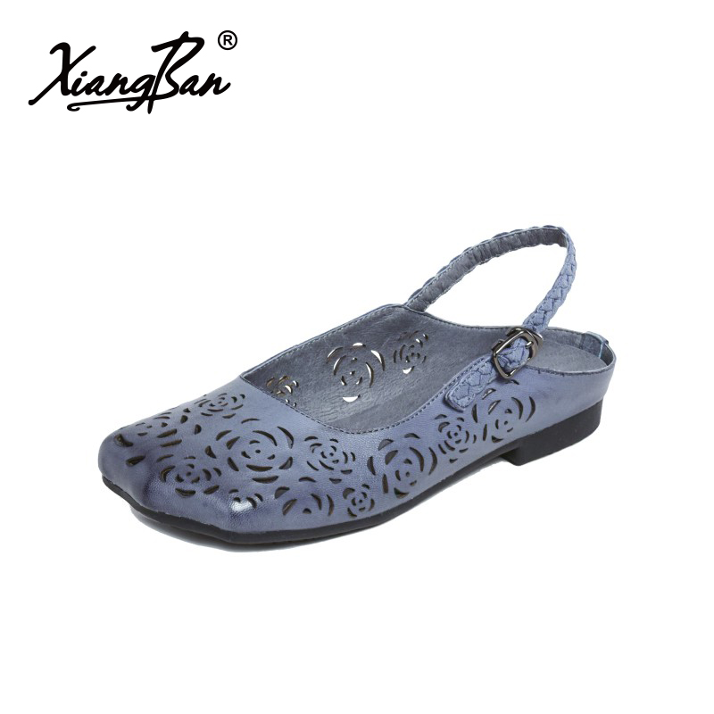2018 original handmade women flat sandals handmade hollowed summer shoes flat bottom back strap woman sandals leisure 618-3 цены онлайн