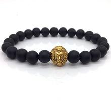 Hot Trendy Men Bracelet Lion Head Charm Bracelet 8mm Stone Bead For Men Jewelry Gift pulsera