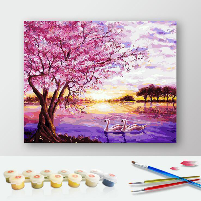 50x65cm Diy oil painting Pink cherry blossom tree by ...