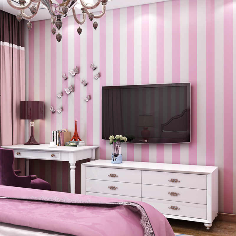 Kids Room Wide Stripes Wallpaper Sticker Adhesive Pink Blue 3d Wallpapers  Roll Baby Boys Girls Bedroom Striped Wall Paper ZP111
