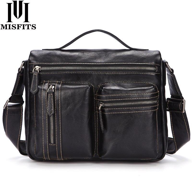 MISFITS Cowhide Leather Men's Shoulder Bags Messenger Bags High Quality Soft Genuine Leather Travel Crossbody Bags Male Handbag