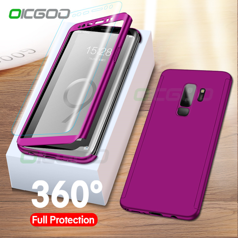 Luxury 360 Degree Cover Phone Case For Samsung Galaxy S9 S8 Plus S10E A30 A50 Cover Cases For Samsung Note 8 9 S9 S10 Plus Case(China)