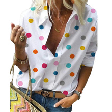 2019 Autumn Womens Tops and Blouses Polka Dot Print V-neck Long Sleeve Shirt Women Blusas Mulher Elegantes Plus Size