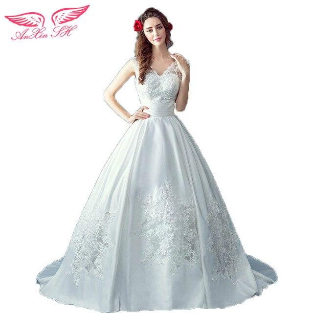 AnXin SH The Princess wedding dress Bride sexy slim deep V collar ...