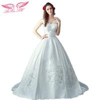 AnXin SH The Princess Bride Sexy Slim Deep V Collar Large Tail Thick Satin Wedding Dress