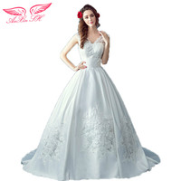 AnXin SH The Princess Bride Sexy Slim Deep V Collar Large Tail Thick Satin Wedding Dress