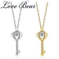 LOVE BEAR 2017 New Arrival Free Shipping Womens Classic Gold Color Crown Key Crystal Pendant Necklaces