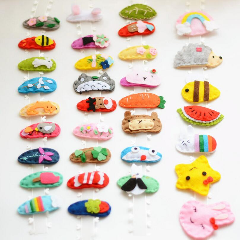 2.17 Felt  animal Snap Clip kids girls Hair Clip 9PCS Toddlers barrette Fine flower cartoon Hairpins hair accessories J111 6pcs lot kids glitter color hair snap clip kids stars headwear five pointed stars hairpins hair accessories