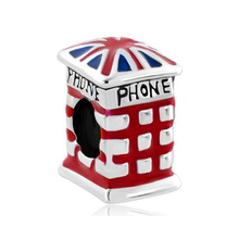 New product UK country flag telephone booth metal beads Fit Pandora Bracelet