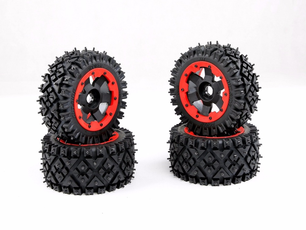 All terrain nail tire assembly for Snow and wasteland for 1/5 hpi rovan km baja 5b ss rc car parts 24 pcs chic flower bow bead rhinestone embellished impressional nail art false nails