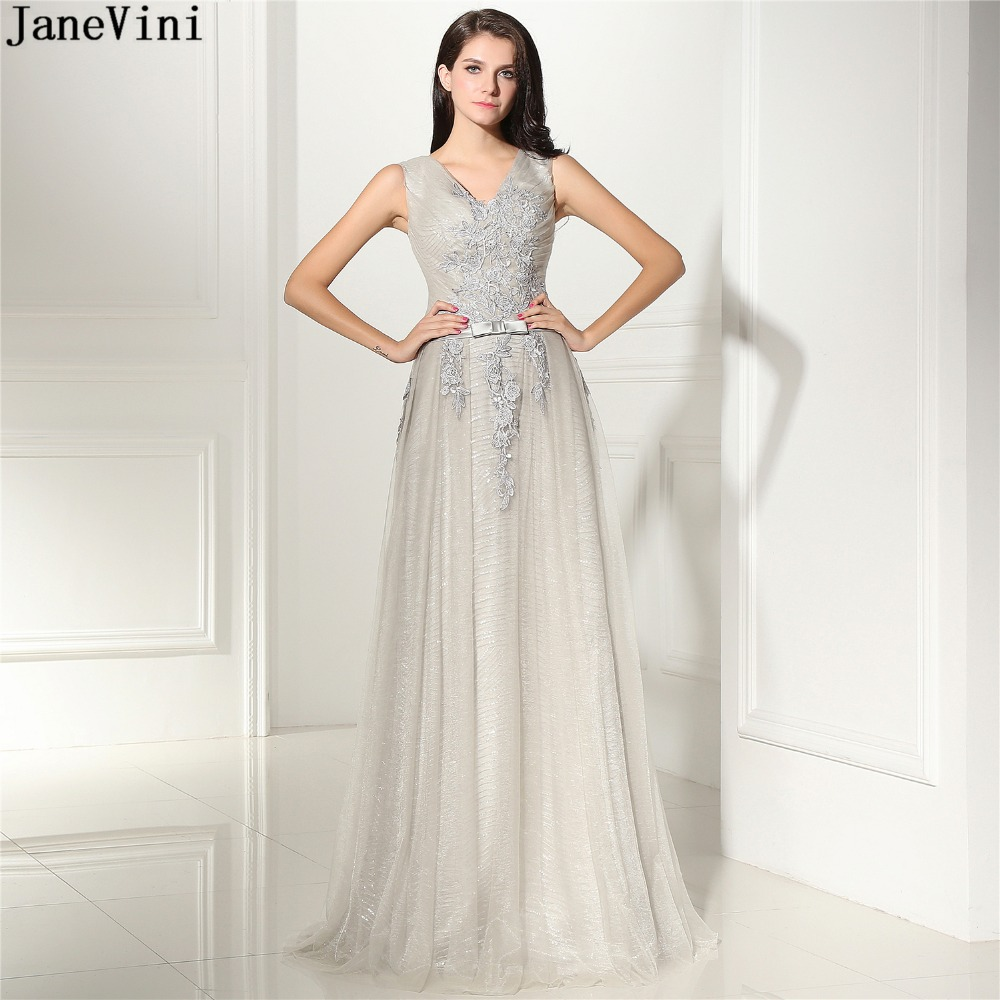 JaneVini Vintage A Line Long   Bridesmaid     Dresses   V Neck Lace Appliques Sequined Zipper Back Tulle Floor Length Prom Party Gowns