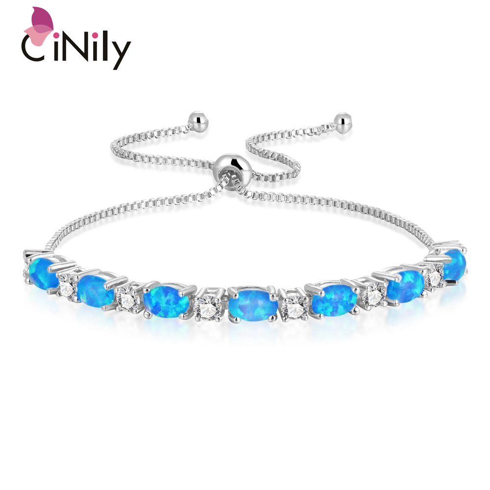 CiNily 4 Tone Fire Opal Sliding Fine Link Bracelets With Stone Silver Yellow Rose Gold Color Adjustable Jewelry Gifts Girl Woman