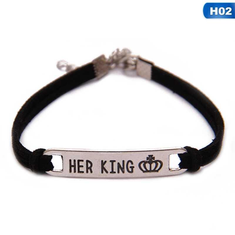 1 pieza su reina Su Rey aleación pareja pulsera regalo de joyería
