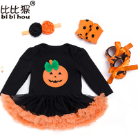 Halloween Costume Baby Girls Boys Rompers Newborn Halloween Pumpkin Jumpsuits Party Dress Infant Cartoon Printed Baby