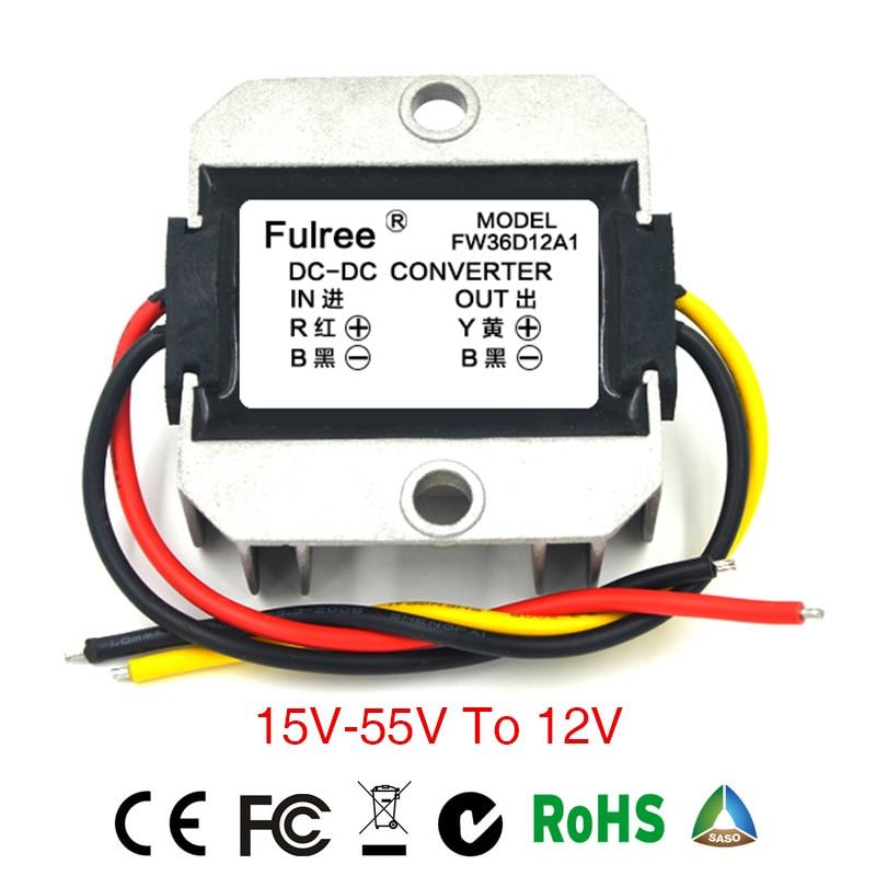 Waterproof Power Supply Converter DC/DC Step-down 24V/36V/48V to 12V 2A controller inverter Car Module Power Inverter Converter