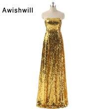 Real Photo Bling Bling Golden Sequin Dress Long Evening Gowns Strapless Florr Length Women Party Prom Dress Vestido Baile Longo